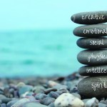 Wellness Retreat: pile of stones representing the elements of wellness