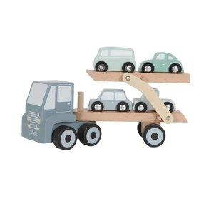 Little Dutch - Lastbil i træ med lad og 4 biler - Blå