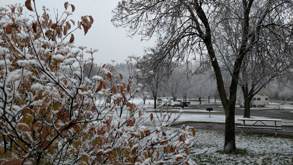 First snow in River Falls, WI, on October 27, 2017