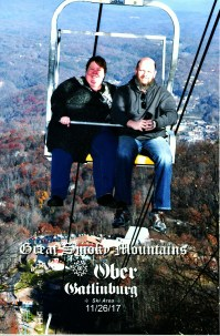 Barb & Jason Ober Gatlinburg Scenic Chairlift, the ski area is below our feet and the city of Gatlinburg is behind us on the right