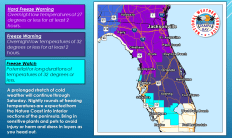 January 3, 2018, NOAA Weather Story for Wind Chills and freezing very deep into Florida