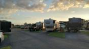 Sunset over E lane at Blueberry Hill RV Resort