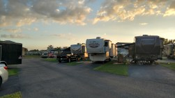 Sunset over E lane at Blueberry Hill RV Resort