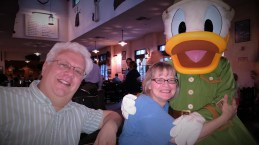 Donald Duck, Mark and Katrina at the Animal Kingdom Tuckers House Character Dinner, February 8, 2018