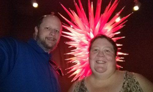 Jason & Barb in front of the Ruby Red Icicle Chandelier (2010)