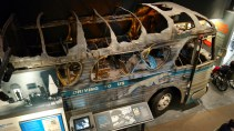 Fire devastated passenger bus at Civil Rights Museum