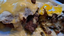 Steak and tater tot eggs benedict at the Loud American Roadhouse in Sturgis, SD