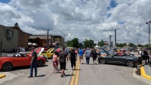 Mustang and Camaro car show on the streets of Sturgis, SD