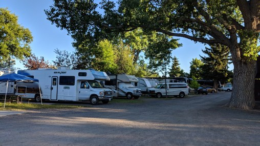 The sites at Ponderosa Campground are pretty tight, there are some that are even just asphalt parking spaces