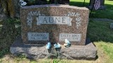 Raymond Aune (1900-1998) and Laura Brye Aune (1901-2003) gravestone at the lutheran graveyard in Coon Valley, WI