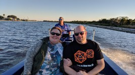 Barb and Jason with Captain Wade with http://bayoubadboysbowfishing.com/ sunset tour in Lafitte, LA