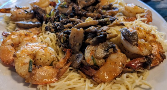 """In the """"under the hill"""" district, Magnolia Grill and fresh gulf shrimp pasta"""