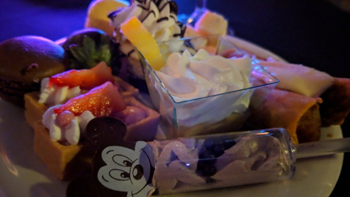 Our beautiful dessert plate at the Happily Ever After Fireworks dessert party on Tomorrowland Terrace celebrating our anniversary.