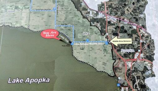 Partial map of Lake Apopka Wildlife Drive