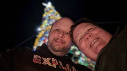 Barb and Jason at the Epcot Christmas Tree