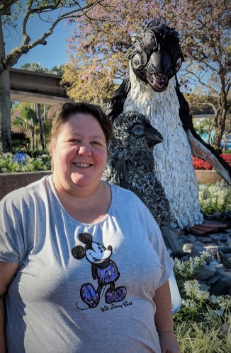 "Barb and the ""Garbage"" Penguin at Epcot Flower and Garden Festival"