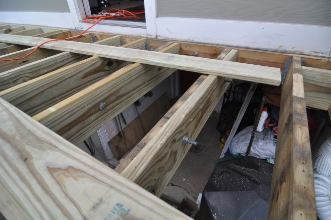 back deck uneven level out new joists carriage bolt sister