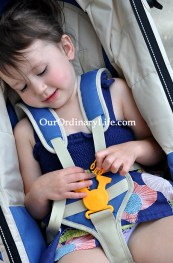 Kelty Speedster Swivel Deuce with child in secure harness