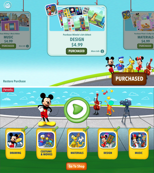 Mickey's Magical Arts World In-Game Apps