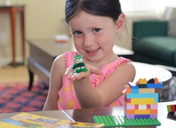 4 year old with her LEGO alligator