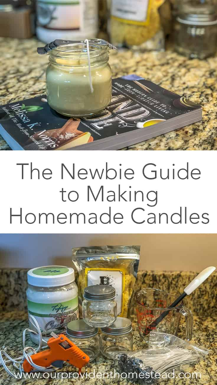 Have you made homemade candles? Click here to see the newbie guide to making homemade candles and get started making them today. #homemade #homemadecandles #homesteading