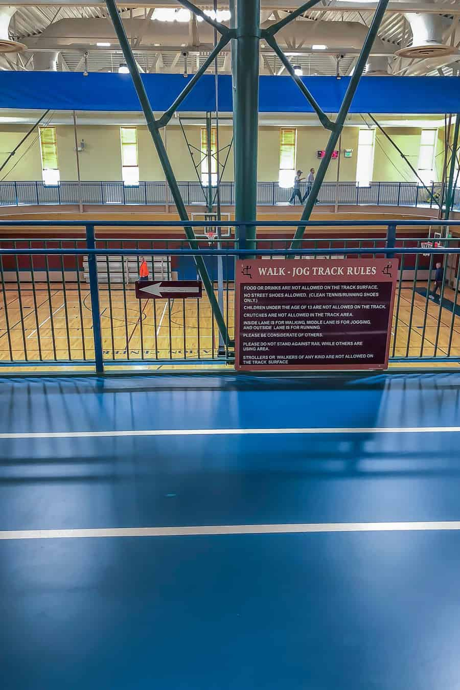 a photo of the inside of a rec center indoor walking track