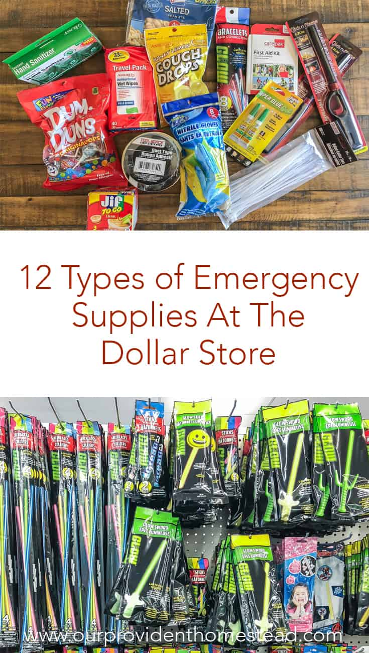 Do you want to get prepared but you are short on money? Click here to see 12 types of emergency supplies you can buy at the dollar store and become a dollar tree prepping genius! #emergency #survival #emergencypreparedness #survivaltips #shtf