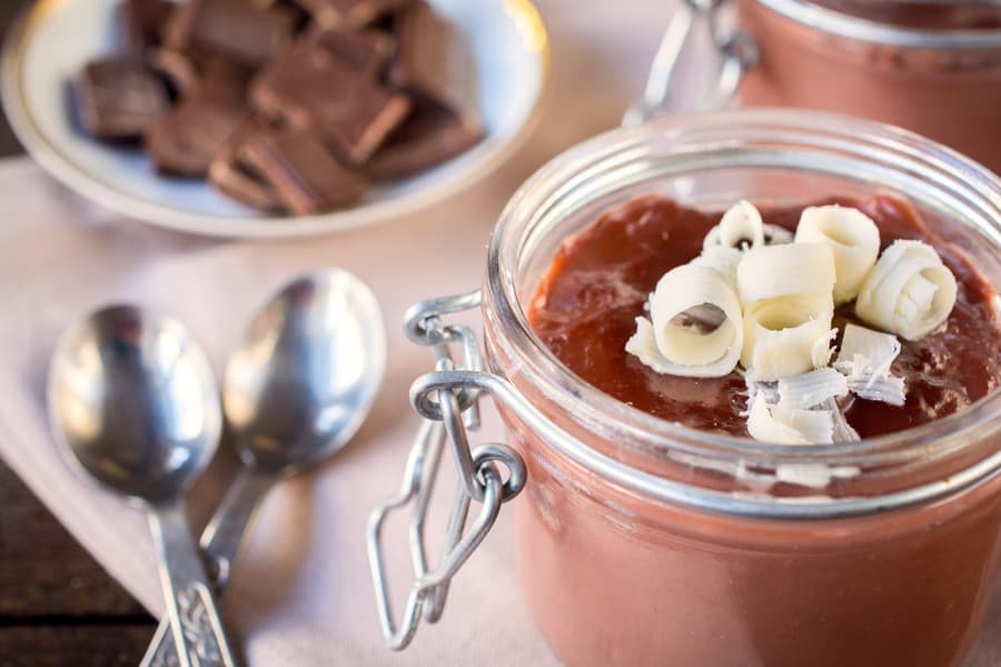 chocolate mousse in glass jar
