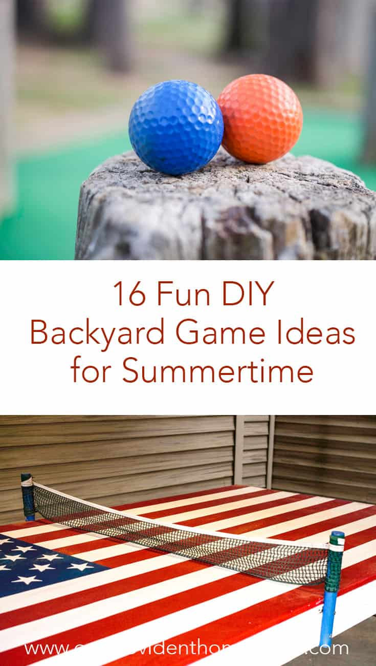 Looking for family fun ideas for summer? Click here to see 16 fun DIY backyard game ideas for summertime and enjoy the outdoors with your family. #familygamenight #familyfavorites #backyardgames #outdoorgames