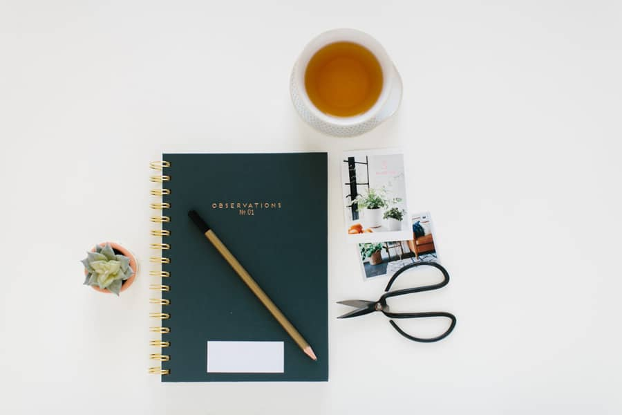 journal and tea on white background