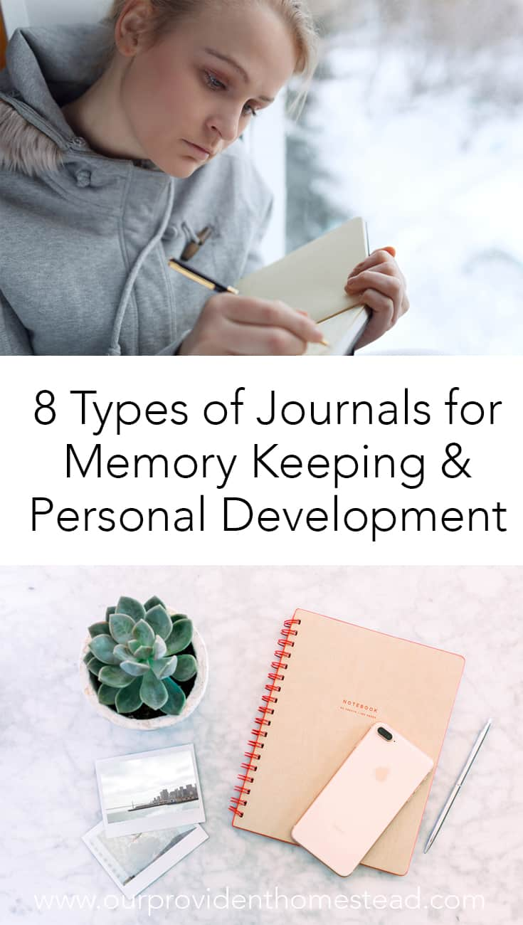 Are you looking to start journaling to help with memory keeping and personal development? Click here to see 8 types of journals and how they can help. #journaling #bulletjournals #personaldevelopment