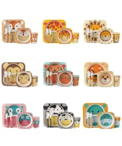 Animal Zoo Bamboo Fiber Children's Tableware All Sets