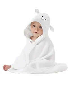 Organic Bamboo Baby Hooded Towel – Ultra Soft Lamb Face Design (Cover)