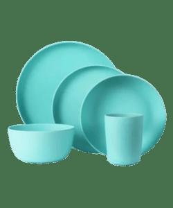 Blue Bamboo Fiber Dishware - 5PCS Tableware Unboxed Display