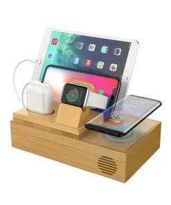5-in-1 Bamboo Wireless Charging Station - Cover
