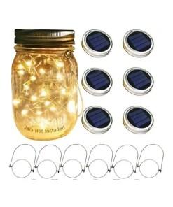 Mason Jar Solar Lights with Handles - 6 Pack