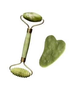 Natural Facial Jade Roller Massager – Gua Sha Jade Stone - Cover with Stone