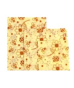 Reusable Cloth Beeswax Wrap - Daisy Pattern 3 Wrap Set - Open