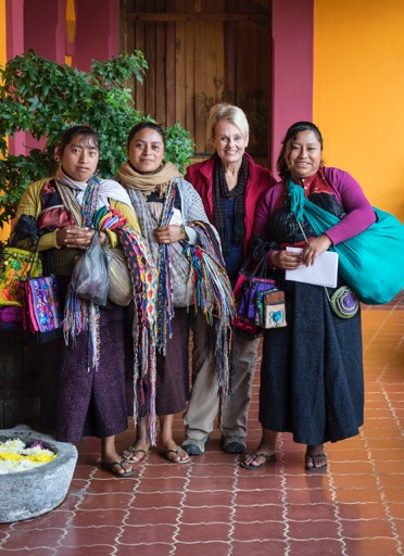 with fellow weavers in Chiapas