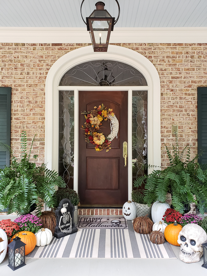 pumpkins and door