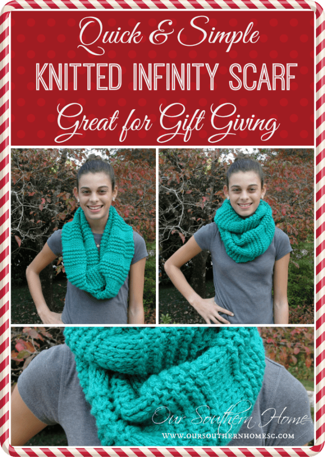 Quick and Easy Knitted Infinity Scarf from Our Southern Home