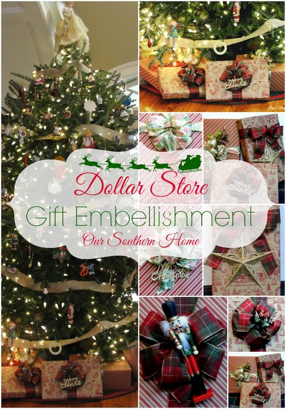 dollar tree gift embelishment with our southern home christmas - 99 Cent Store Christmas Hours