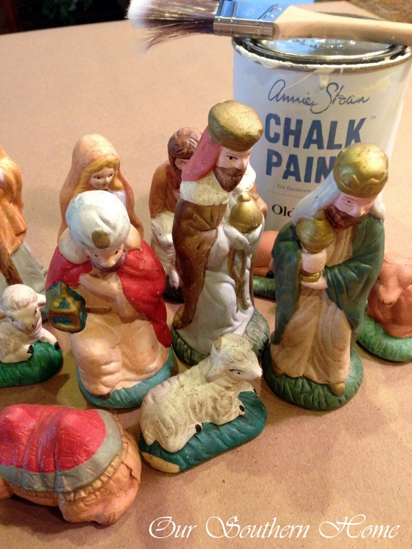 thrift store nativity scene make over our southern home