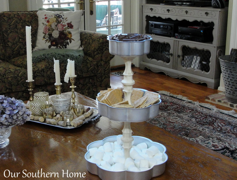 S'mores Station made with dollar store candleholders from Our Southern Home #greatdollarstorechallenge #dollartree #smores #smoresstation #ascp #anniesloanchalkpaint