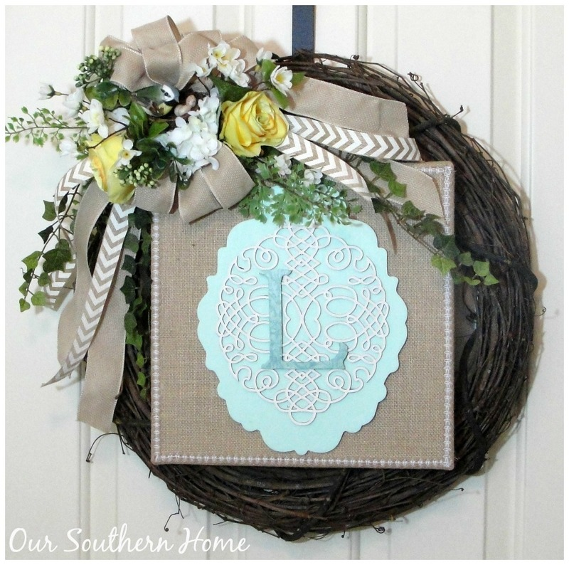 Burlap Monogram Wreath from Our Southern Home