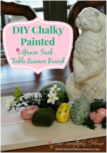 Chalky Painted Grain Sack Table Runner Board