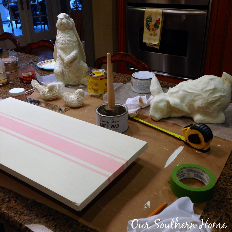 DIY Chalky Painted Grain Sack Runner Board by Our Southern Home #easter #chalkypaint #crafts