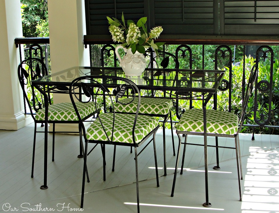 Porch Furniture Update with outdoor fabrics via Our Southern Home