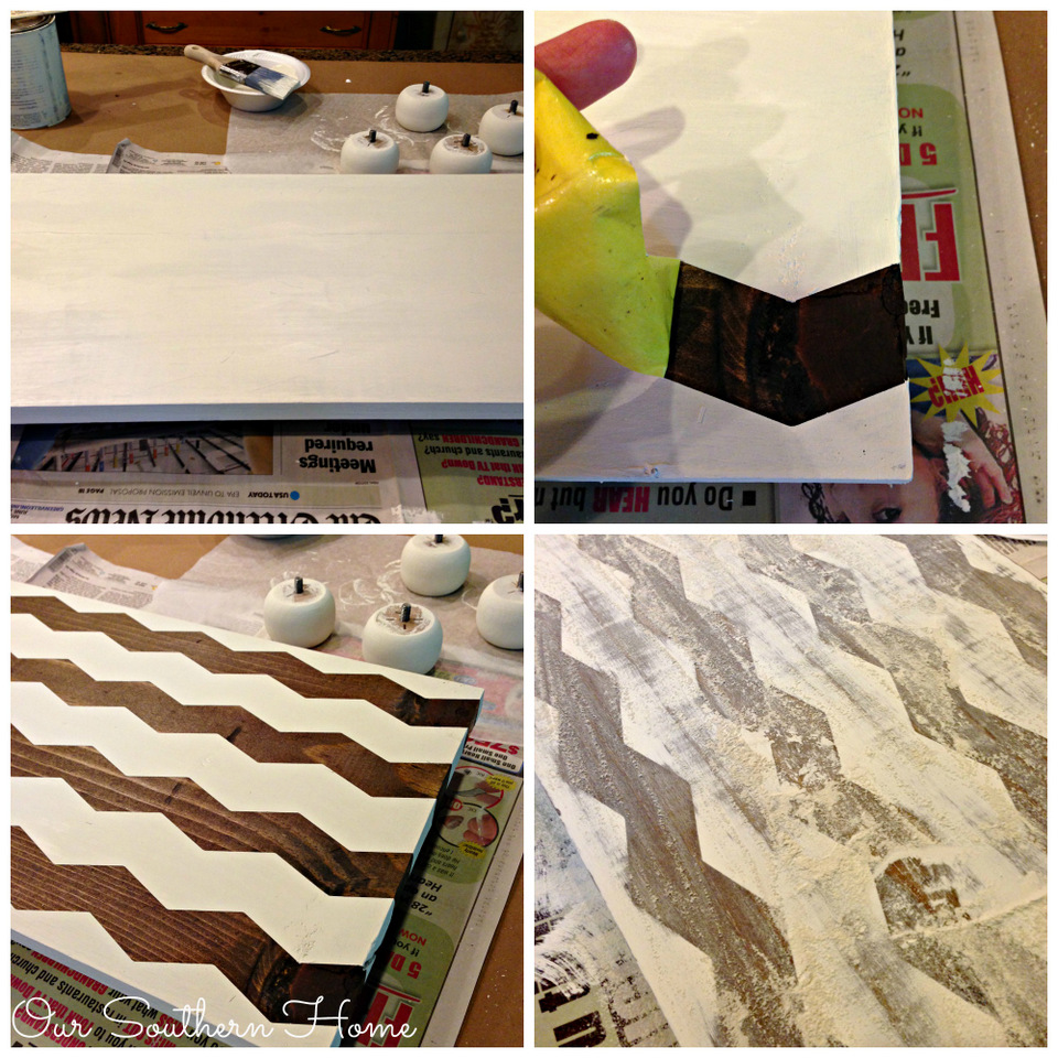 Simple DIY chevron serving tray made with shape tape and a few supplies found at your local home improvement center by Our Southern Home #AD #ShapeTape