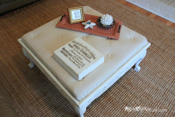 Thrifty Coffee Table turned Ottoman - top finished - artsychicksrule.com #coffeetable #ottoman #diy